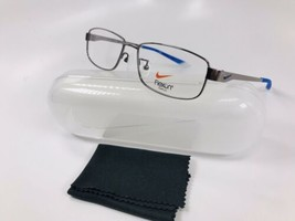 New NIKE NK 4821AF 024 Shiny Gunmetal & Blue Eyeglasses 54mm with Case - $89.05