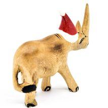 Hand Carved & Painted Jacaranda Wood Santa Hat Rhino Safari Christmas Figure image 4