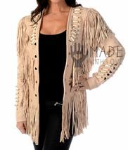 Women's Western Beige Fringes bones Native American Ladies Suede Leather Jacket - $149.99+