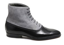 Handmade Men's Black Leather and Gray Suede High Ankle Boot image 2