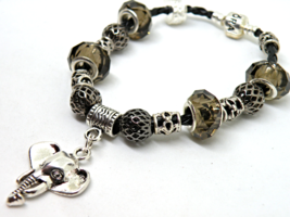 Elephant European Murano Beaded Leather Bracelet. Gift bag included - $15.95