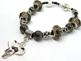 Elephant European Murano Beaded Leather Bracelet. Gift bag included - $15.95