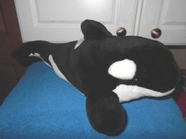 "Sea World Plush Orca Whale Black White 16"" Lgth - $7.42"