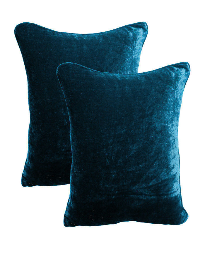 Primary image for 20 by 30 INCHES - 100% COTTON VELVET 2PC BEDROOM PILLOW COVERS SET - TEAL