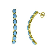 half Moon Design Yellow Rhodium Turquoise 925 Sterling Silver Earring SH... - $32.40