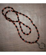 """Red and Purple Glass Beaded 31"""" Necklace / Badge Holder  Hat Society Ladies - $6.30"""