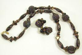 Hattie Carnegie Black Red Gold Necklace Clip Earrings Rhinestones Ab Vintage - $123.74