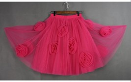 FLOWER CIRCLE Princess Tulle Skirt High Waist Handmade Blush Pink Midi Skirts  image 10
