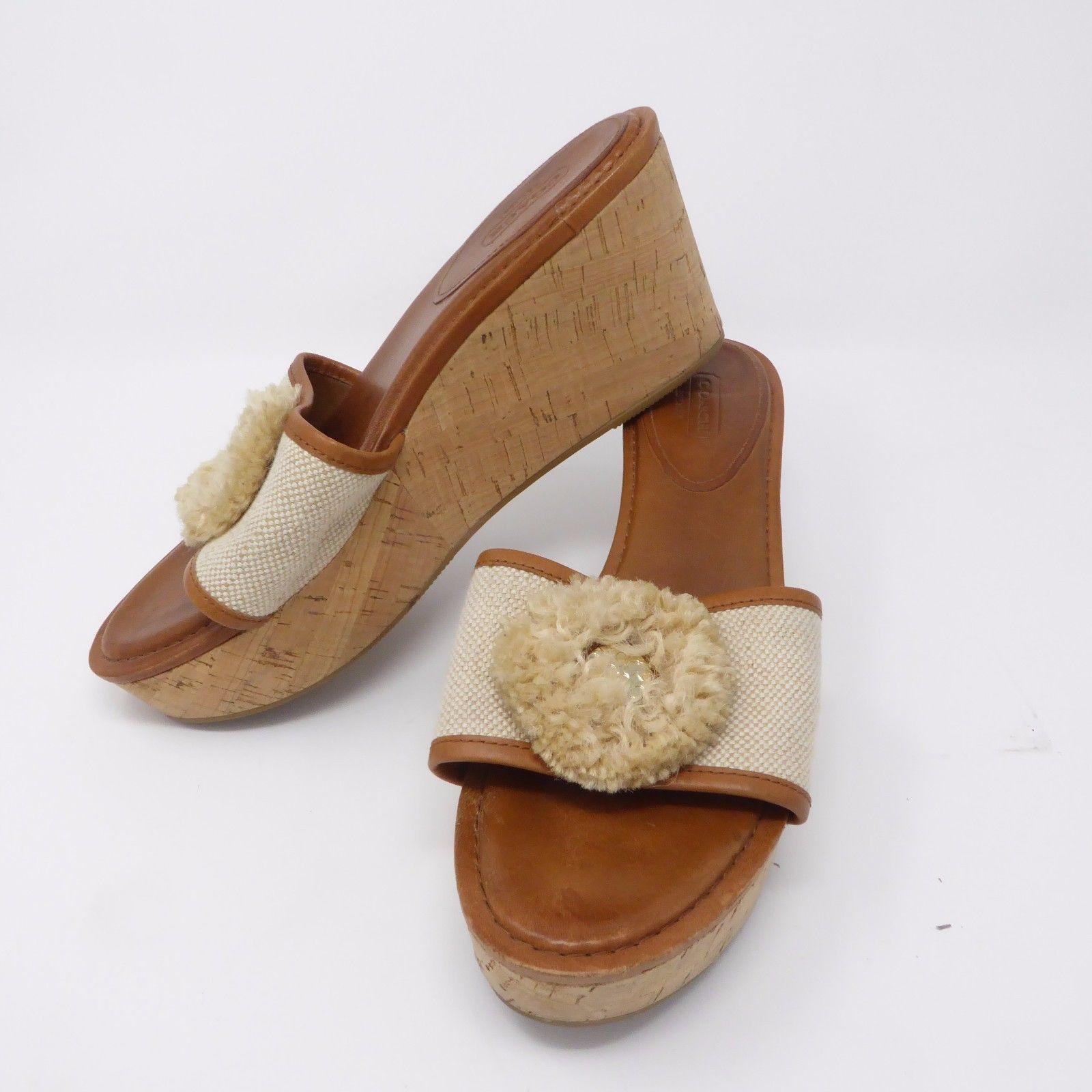 ca41df2262 Size 10 B COACH Platform Wedge Sandals Cork and 50 similar items