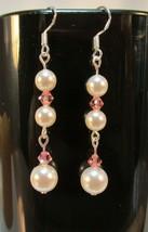 made w Pink SWAROVSKI Crystal & Cream Pearl Element Earrings Medium HM - $13.00