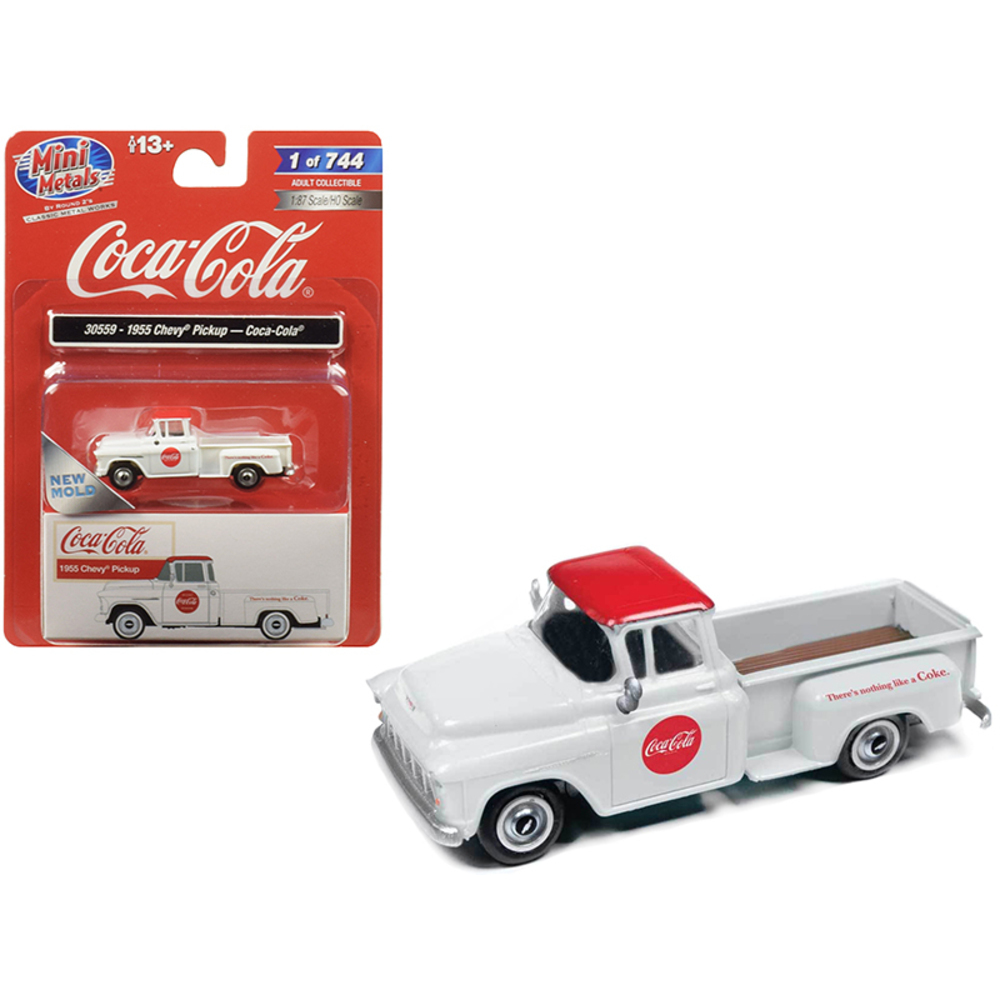 1955 Chevrolet Pickup Truck Coca Cola White with Red Top 1/87 (HO) Scale Model C
