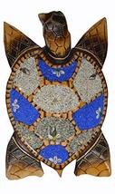 WorldBazzar Large Hand Carved Wood Nautical Turtle with Sand Finish Wall Art or  - $29.64