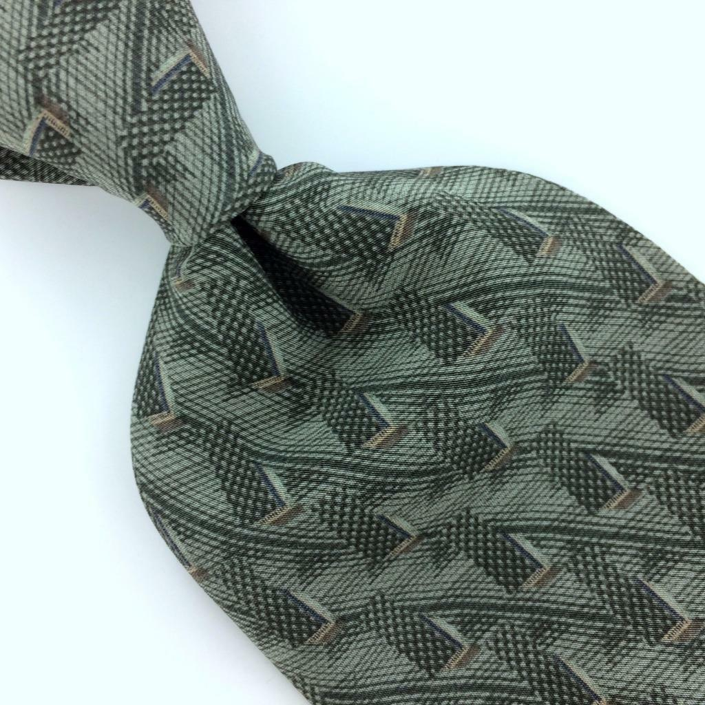 Primary image for BILL BLASS TIE CROSS LINKED STRIPED Greenish Gray Silk Necktie Ties I7-478