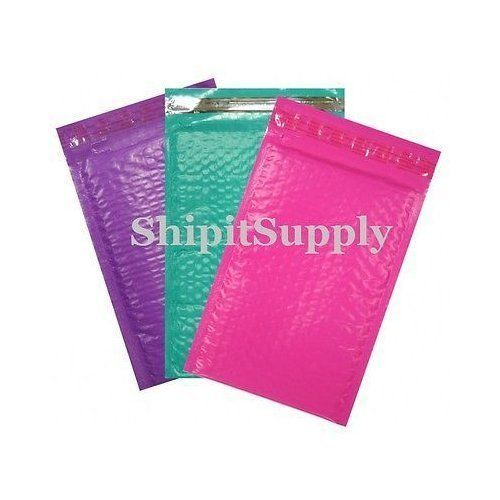 3-600 #000 4x8 ( Pink Purple & Teal ) Combo Poly Color Bubble Padded Mailers