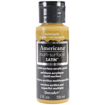 Americana Multi-Surface Satin Acrylic Paint 2oz-Muted Gold - $5.72