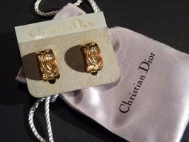 1960s original Christian Dior flower motif golden clip-on earrings - $140.00