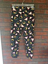 LuLaRoe Disney Leggings One Size Black Pink Yellow Bow Minnie Mouse Stretch Pant image 4
