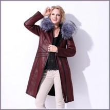 Silver Russian Fox Fur Hooded Collar Long Sleeves Plush Lined Faux Leather Coat image 5