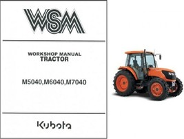 Kubota M5040 M6040 M7040 Tractor WSM Service Workshop Manual CD  - $12.00