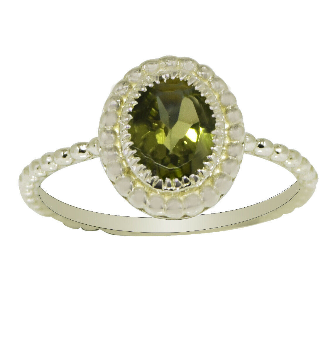 Primary image for 0.85 Ctw Peridot Gemstone 925 Sterling Silver Solitaire Stacking Women Ring
