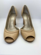 High Heels Peep Toes Shoes Liz Claiborne Women's Beige Leather Size 8.5M - $19.70