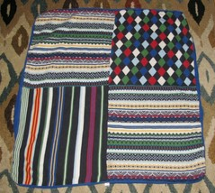 Baby Gap Boy Navy Blue Red Green Fleece Sweater Knit Blanket Argyle Diamond - $59.39