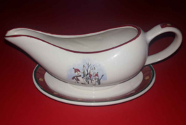 Snowman Christmas Gravy Boat & Matching Under Drip Plate Set Royal Seasons - $5.93