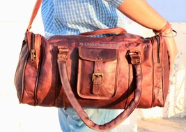 "20""Men's genuine Leather large vintage duffle travel Yoga weekend overnight bag  - $43.04"