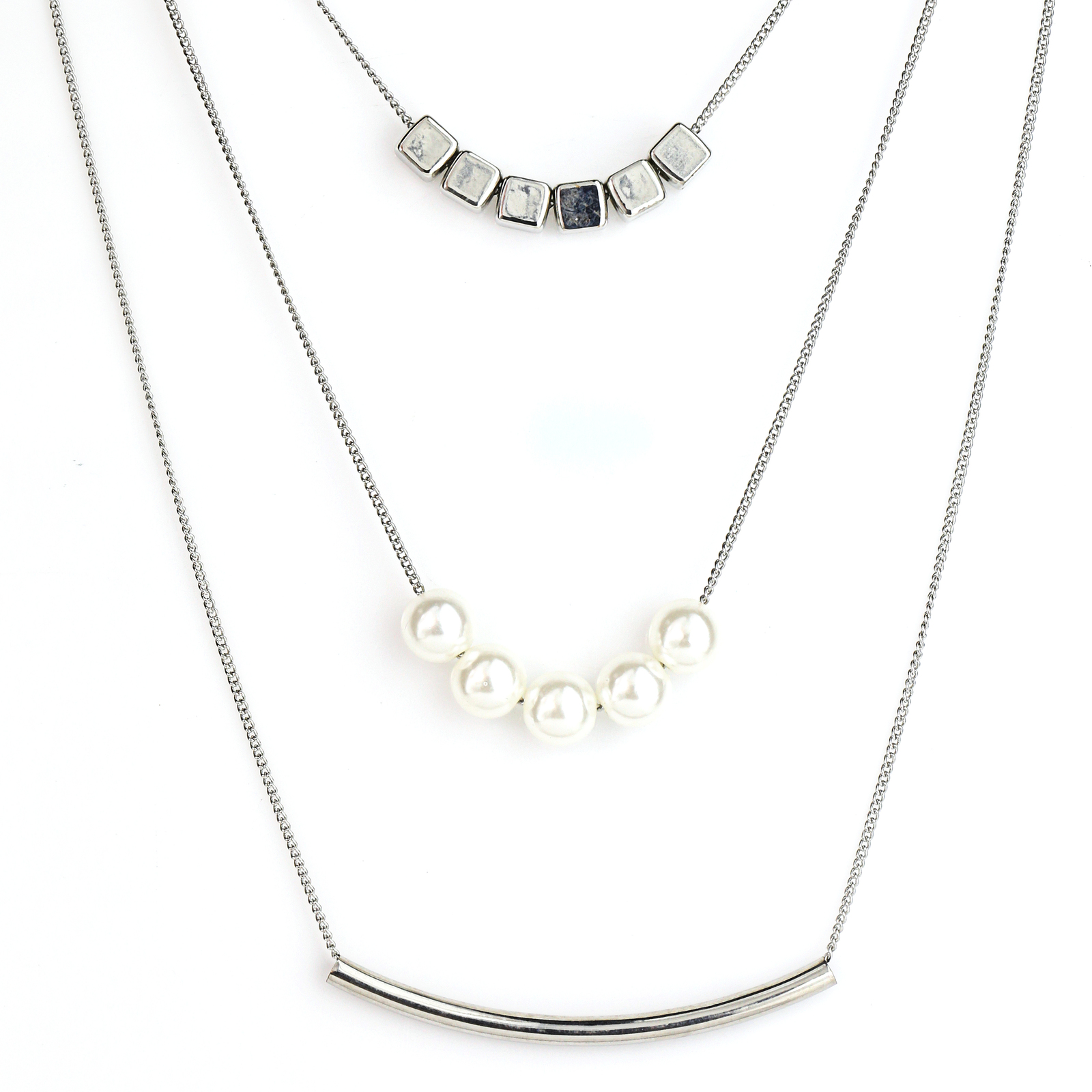 UE- Unique Multi-Strand Silver Tone Necklace with Bar & Faux Pearl Design