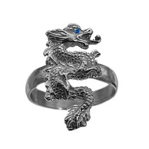 Chinese Dragon Sapphire eye Sterling Silver Ring Dance Power Diginity Ne... - $35.42