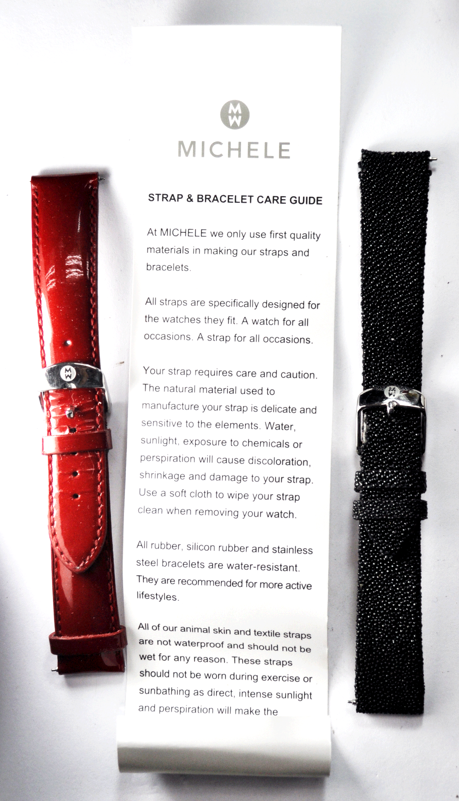 Set of 2 Michele Leather Watch Straps Red & Black Quick Change 18mm - $29.69