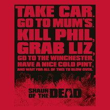 Shaun of Dead T-shirt funny zombie film red cotton graphic tee movie UNI314 image 2