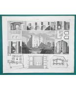 FORTIFICATIONS Bastille Louvre in Paris Bridges Gates - 1844 Superb Print - $9.00