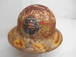 Old Vtg CIVIL DEFENSE METAL HELMET HARD HAT WWII Home Front Distressed - $98.99