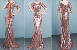 Half Sleeve Fit Gold Maxi Sequin Dress Wedding Party Maxi Gold Sequin Dress Gown image 5