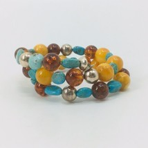 Jay King Sterling Silver Turquoise Amber Wrap  Bracelet HSN Marked .925 DTR - $48.38