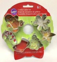 Wilton Wreath MINI Metal Cookie Cutter Set 6 pc Christmas Shapes - $5.39