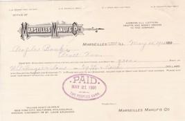 U.S. Marseilles Manufacturing Co. Logo Ill. 1901 Paid Cancel Invoice Ref... - $7.55