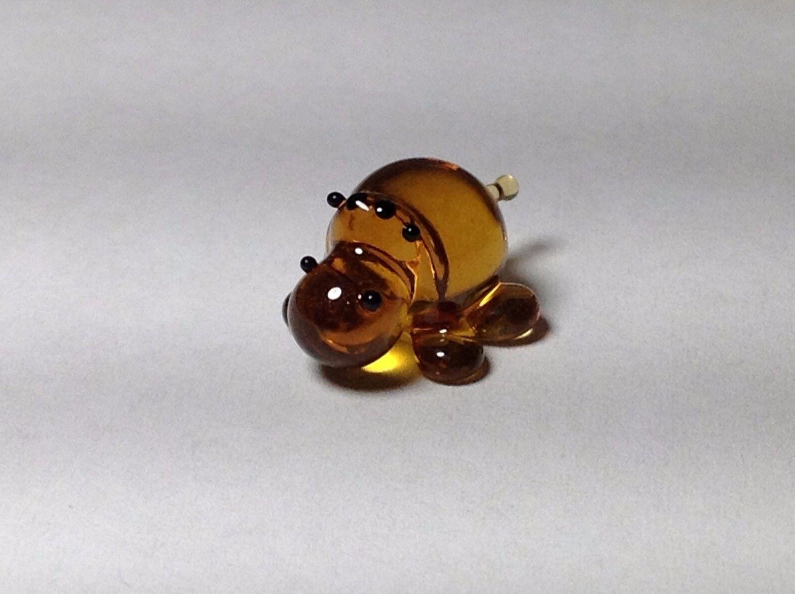 Miniature Glass amber   hippo Handmade Blown Glass Made USA