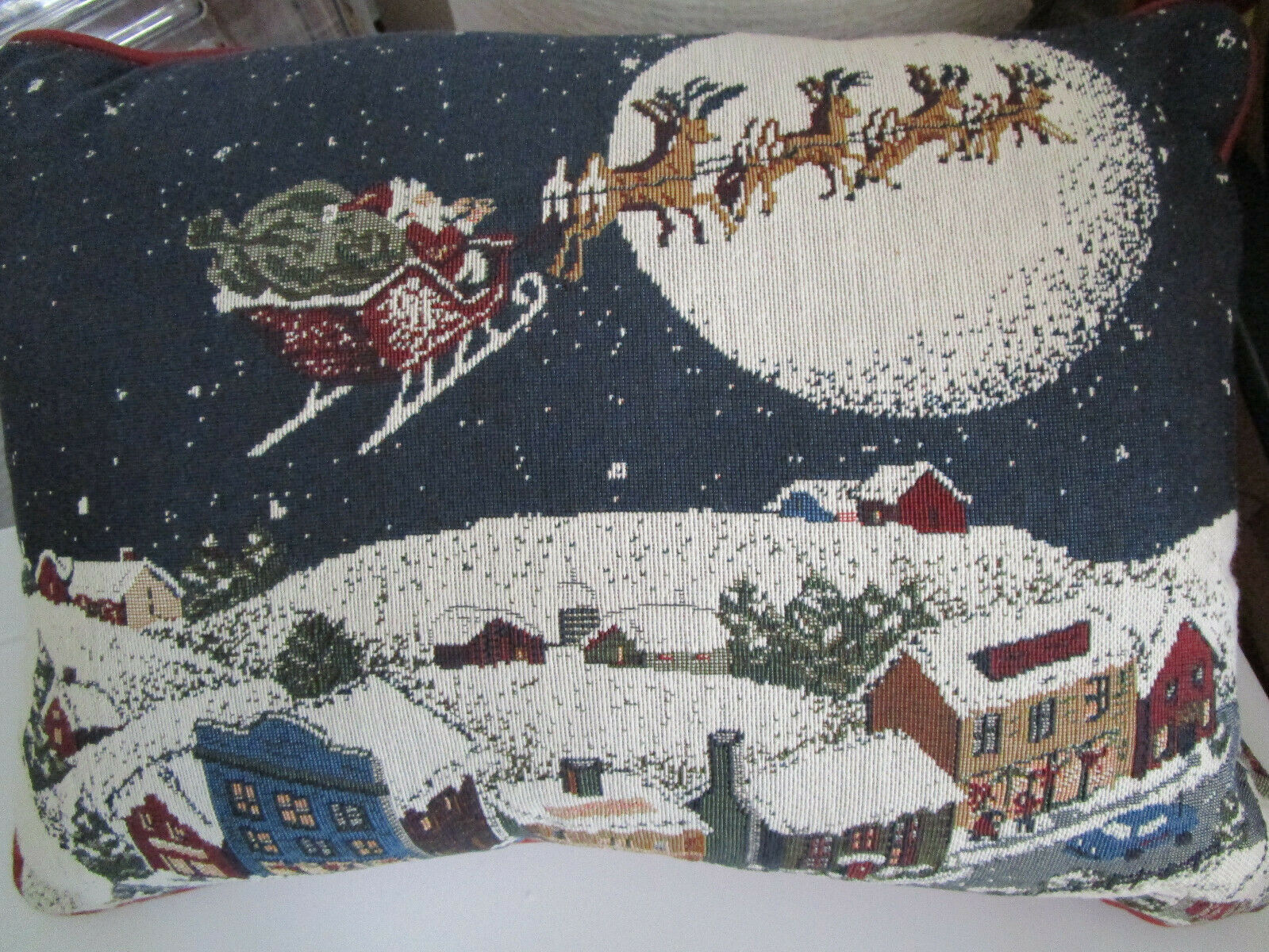 Primary image for CHRISTMAS SANTA Blue Tapestry THROW PILLOW 12 x 16.5 VTG