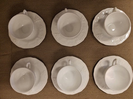Indiana Colony White Milk Glass Embossed Cups & Saucers Harvest Grape 12... - $31.42