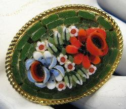 Brooch Italian Mini Mosaic Flower Bouquet Green Background 60s Italy Mar... - $32.00