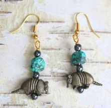 Judy Strobel Turquoise & Hematite Armadillo Pierced Earrings - $19.95