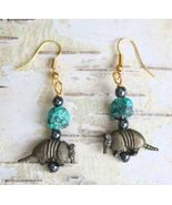 Judy Strobel Turquoise & Hematite Armadillo Pierced Earrings - $19.95