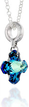Cross Pendant Made with Swarovski Bermuda Blue Crystal 925 Sterling Silv... - $112.35