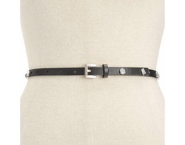 "NWT Michael Kors Black Leather Skinny Belt Silver Studded Stud 1/2"" Wide M - $19.79"