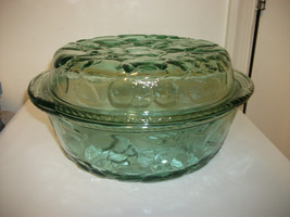 Libbey Green Glass Casserole Baking Serving Dish W/ Pie Plate Lid Orchard Fruit - $49.99