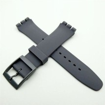 HOT! Grey Gris grigio silicone rubber Strap fits Swatch 19mm steel clasp... - $12.99