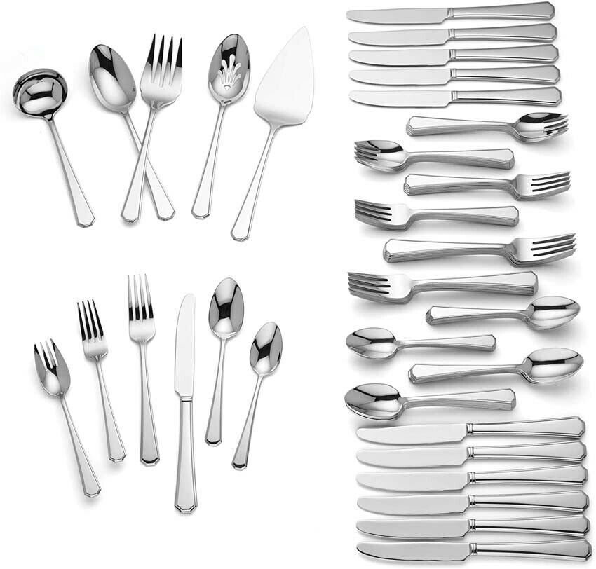 Lenox Langstone 77 Piece Flatware Set 18/10 Stainless Service for 12 New - $238.90