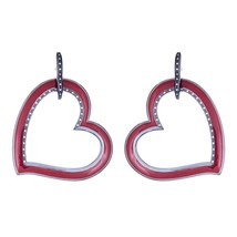 Gorgeous Cristina Sabatini Amoroso Burgundy Red Heart Hoop Earring - $206.91